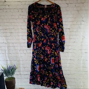 BoHo Empire-Waist Split-Neck Floral Midi Dress XL
